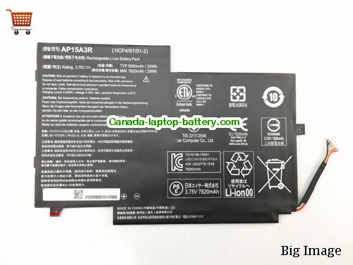 Canada ACER AP15A3R Aspireswitch 10E SW3-013P Laptop Battery 30Wh