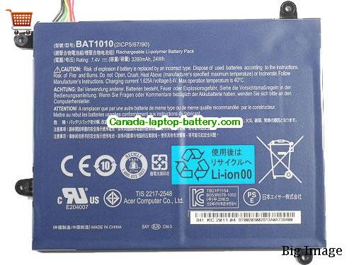 ACER 2ICP 5/67/89 Battery 3260mAh, 24Wh  7.4V Black Li-ion