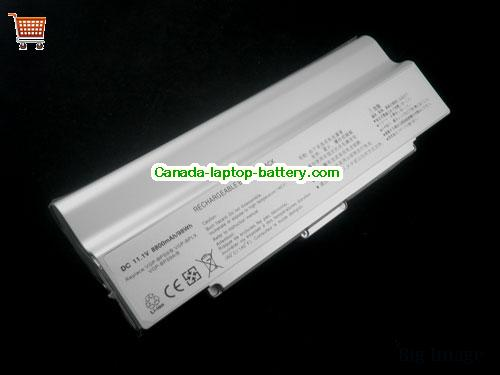 SONY VAIO VGN-CR215E Battery 10400mAh 11.1V Silver Li-ion