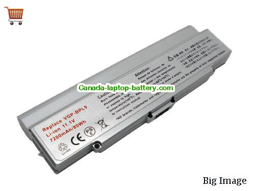 SONY VAIO VGN-CR215E Battery 6600mAh 11.1V Silver Li-ion