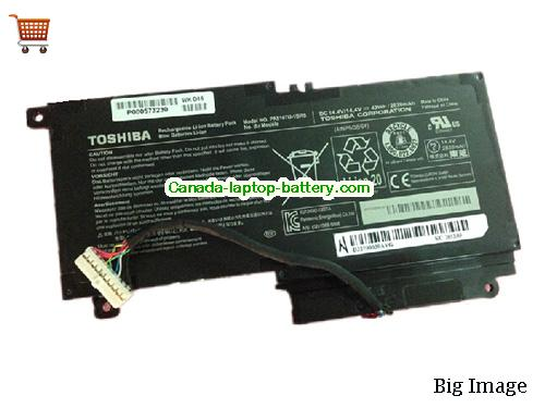 TOSHIBA Satellite P50t-A Battery 2838mAh, 43Wh  14.4V Black Li-ion
